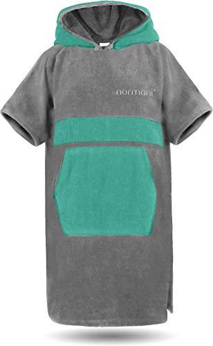 normani Baumwoll Handtuch-Poncho - Unisex Strand Umziehhilfe - geschlossener Bademantel für Damen und Herren Farbe Grau/Petrol Größe L/XL