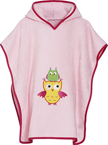 Playshoes Mädchen Frottee-Poncho Eule Bademantel, Rosa (Rosa 14), One size (Herstellergröße: S)