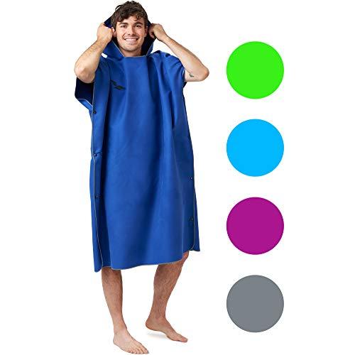 Fit-Flip Surf Poncho-Größe L-dunkelblau/grau_ Handtuch Umkleidehilfe, Handtuch Robe, Badeponcho, Umkleide Poncho