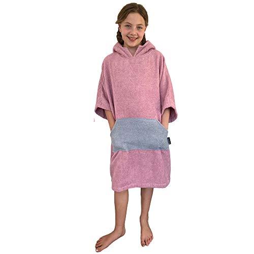HOMELEVEL Kinder Surfponcho 100% Baumwolle Strandponcho Poncho Badeponcho Strandtuch Handtuch Cape Frottee Badetuch mit Kapuze Altrose/Hellgrau 6-9 Jahre
