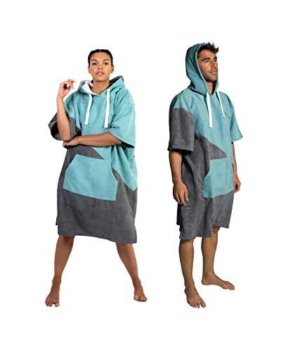 Vivida Lifestyle – Premium Poncho Handtuch mit Waffle-Kapuze Quickdry Fabric und Easy Underarm Access, Große Tasche mit Reisverschluss für den Strand, zum Surfen & Schwimmen (S-M, Grau-Blau)