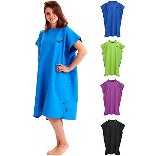Fit-Flip Surf Poncho – Handtuch Bademantel, Handtuch Robe, Kapuzen Surf Poncho, Handtuch mit Ärmel – Größe L, blau
