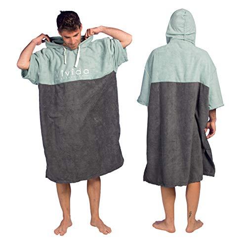 Vivida Lifestyle - Essential Kapuzen Poncho Handtuch mit Quickdry Fabric für den Strand, zum Surfen, Schwimmen & Triathlon (Blau-Grün, M/L)