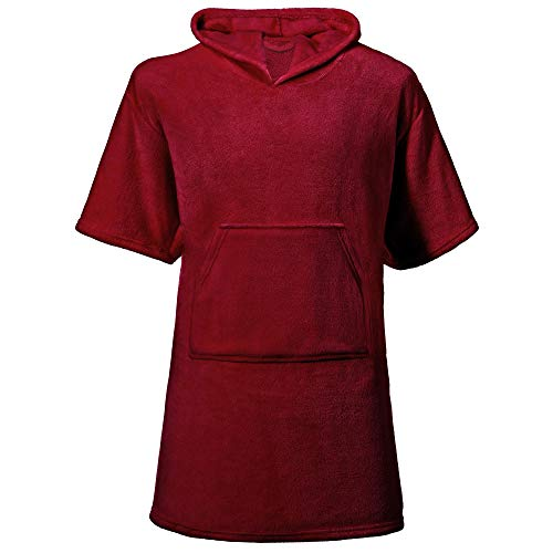 CelinaTex Happyfun Poncho lang 80 x 110 cm Bordeaux Mikro-Flanell Badeponcho Mikrofaser Surfponcho Handtuch