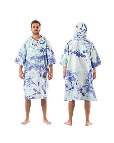 Vivida Lifestyle – Bedrucktes Kapuzen Poncho Handtuch mit Quickdry Fabric und Easy Underarm Access, Große Tasche mit Reisverschluss für den Strand, zum Surfen, Schwimmen & Triathlon (Wanderlust, M-L)
