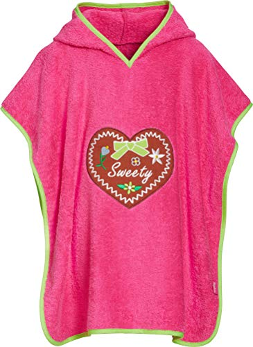 Playshoes Mädchen Frottee-Poncho, Badeponcho Sweety mit Kapuze Bademantel, Rosa (Pink 18), L