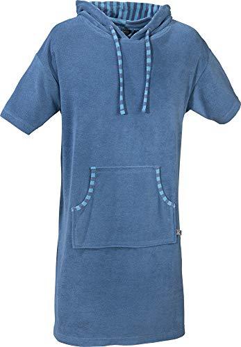 Erwin Müller Unisex Poncho, Damen - Herren - Surf-Poncho blau Größe L-XL - mit Kapuze und Taschen, Badetuch, Umkleide-Hilfe, Leicht-Frottier