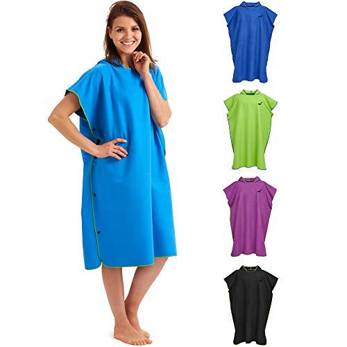 Fit-Flip Surf Poncho – Umziehponcho, Umkleidehilfe Damen, Badeponcho, Surf Poncho Mikrofaser – Größe M, blau/grün