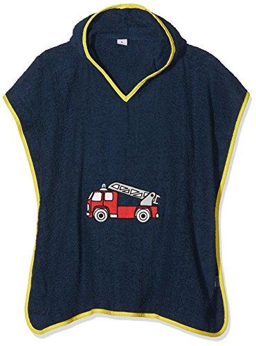 Playshoes Jungen Frottee-Poncho Feuerwehr Bademantel, Blau (Marine 11), One Size (Herstellergröße: S)