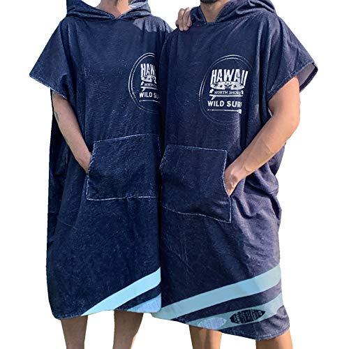 Homelevel Damen und Herren Surfponcho Strandponcho Poncho Badeponcho Strandtuch Handtuch Cape Baumwollmischung Velours Frottee Badetuch mit Kapuze Blau