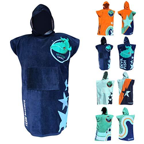 TEAM MAGNUS Bademantel/Strandtuch - großes Handtuch für Bad u. Outdoors - Vier Coole Designs/Farben im Poncho-Stil (Einheitsgröße für Kinder u. Teens 120-170 cm) (Navy)