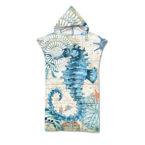 Ozean Tier Schildkröte Tintenfisch Groß Ändern Robe Handtuch Poncho mit Kapuze, Wal Seepferdchen Schwimmen Neoprenanzug Ändern zum Surfen Strand, Polyester Badetuch (Seepferdchen)