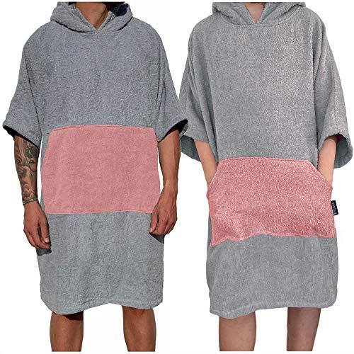 Homelevel Damen und Herren Surfponcho 100% Baumwolle Strandponcho Poncho Badeponcho Strandtuch Handtuch Cape Frottee Badetuch mit Kapuze Hellgrau/Altrose L/XL