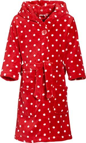 Playshoes Mädchen Fleece Punkte Bademantel, Rot (original 900), 146 (Herstellergröße: 146/152)