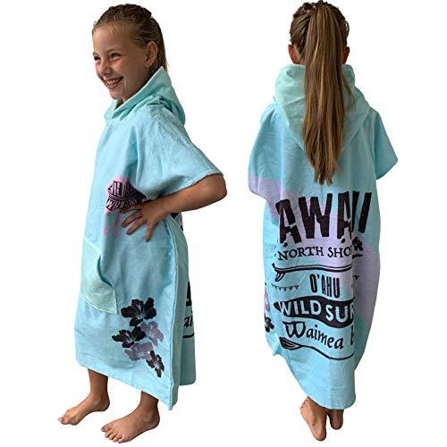 Homelevel Surfponcho Mädchen Jungen Teenager Kinder Poncho 8-13 Jahre Badeponcho Strandtuch Handtuch Cape Baumwollmischung Velours Frottee Badetuch mit Kapuze Mint Surfing